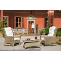 Tempered glass and wicker garden coffee table W 100cm St Raphaël