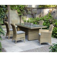 Tempered glass and wicker garden table W 200cm St Raphaël