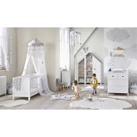 Tenda bianca in cotone con laccetti 102x250 cm Étoile