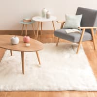Teppich  aus Kunstfell, weiß, 140 x 200 Oumka