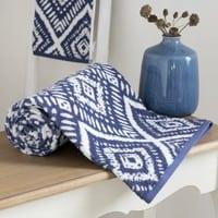 Toalla de algodón azul con motivos gráficos 70x140