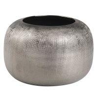 Vase en grès argenté H10 Strie