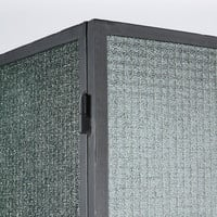 Vitrine 2 portes en métal noir et verre gaufré Azalis