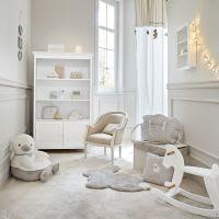 Wit/beige katoenen gordijn met lussen 110x250 Ourson