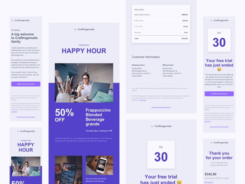 Responsive email templates from Craftingemails