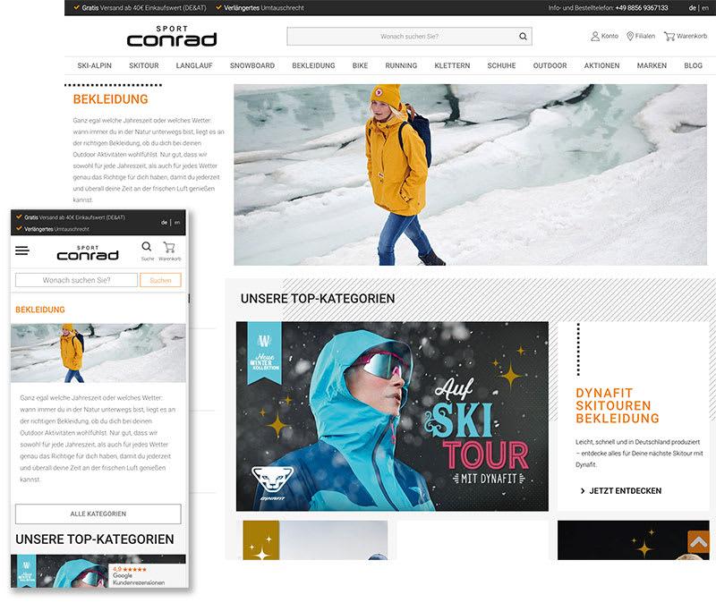 Screenshot Sport Conrad Onlineshop.