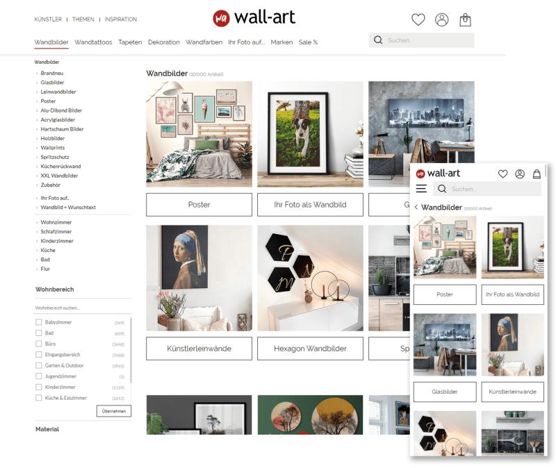 Screenshot WallArt Onlineshop.