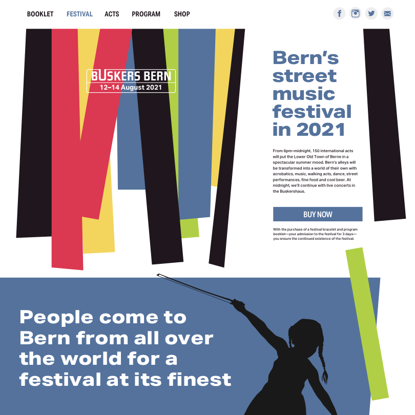 Buskers Bern  website design