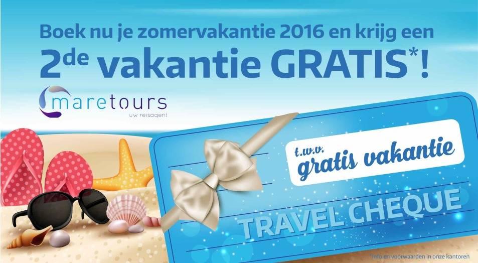 Boek je zomervakantie 2016 en krijg een 2de vakantie cadeau!