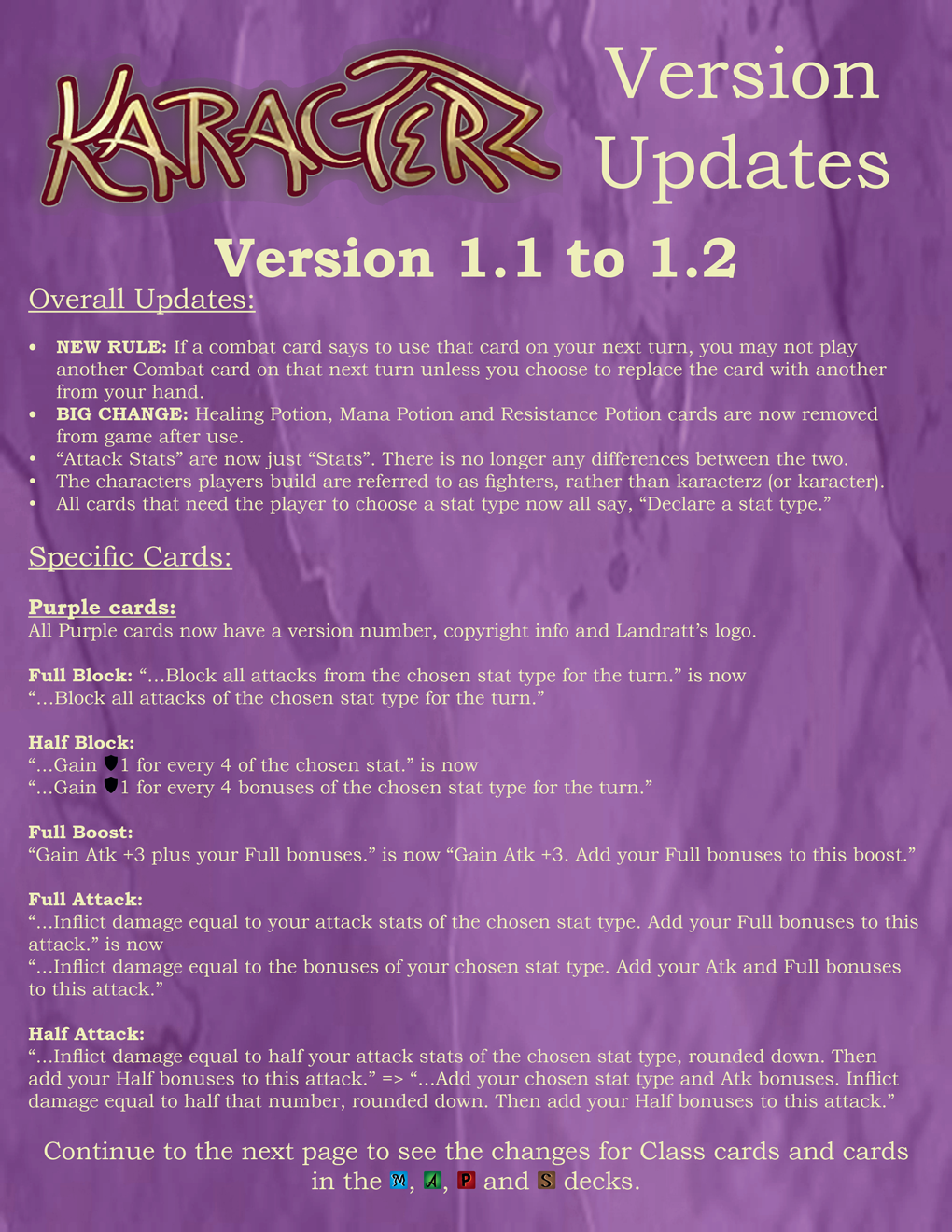 Karacterz Version 1.1 to 1.2, page 1