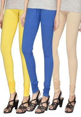 Manini Yellow Blue And Cream Cotton Leggings