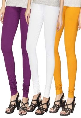Manini Purple White Yellow Cotton Leggings