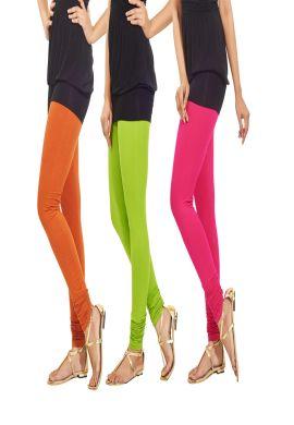 Manini Orange Green And Pink Cotton Leggings
