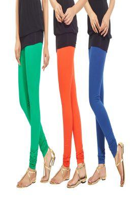 Manini Green Orange Blue Cotton Leggings