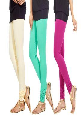 Manini Cream Green Pink Cotton Leggings