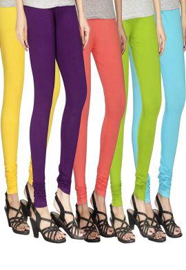 Manini Yellow Purple Pink Green Blue Cotton Leggings