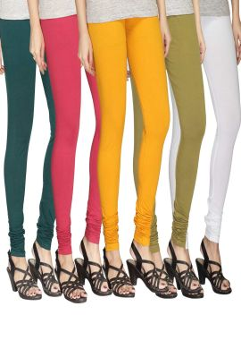 Manini Green Pink Yellow Beige White Cotton Leggings