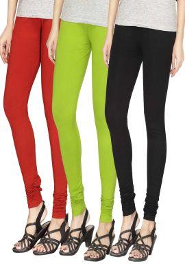 Manini Red Green Black Cotton Leggings
