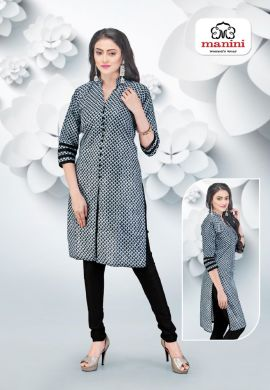Manini Black Cotton Kurti