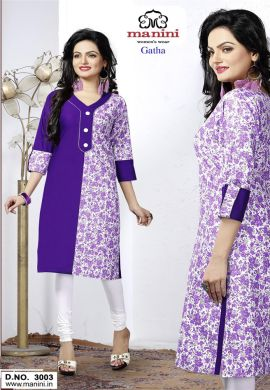 Manini Purple Cotton Kurti