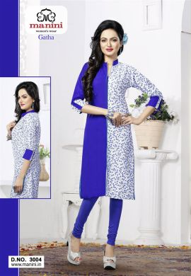 Manini Blue Cotton Kurti