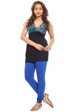 Manini DarkRoyalBlue Cotton Premium Leggings