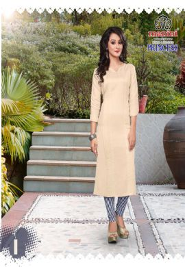 Manini Cream Cotton Kurti