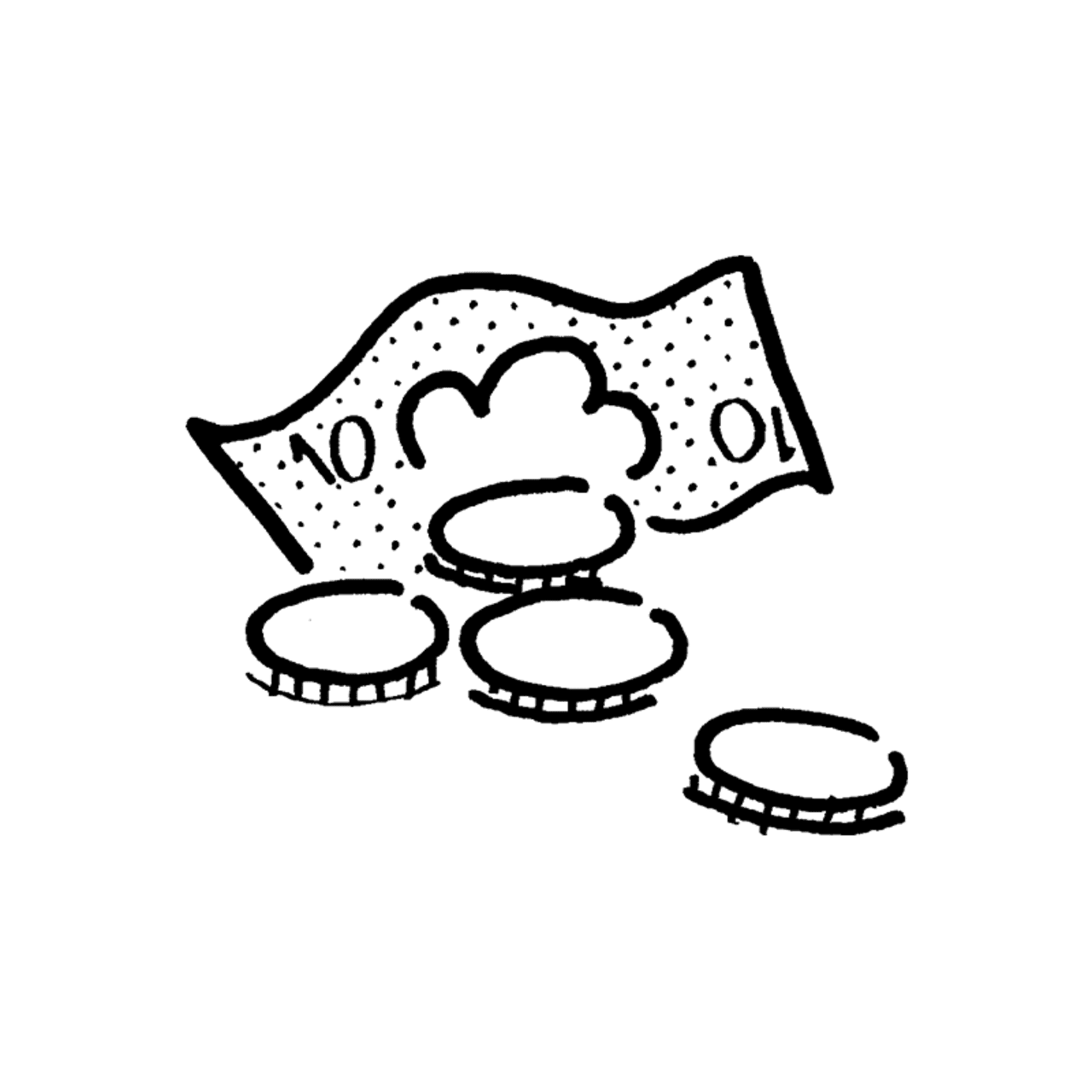 coins and paper money illustration