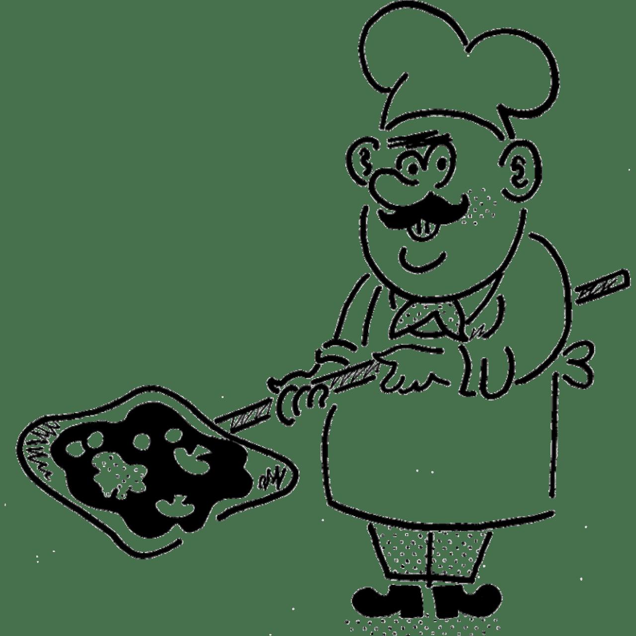 Pizza baker illustration