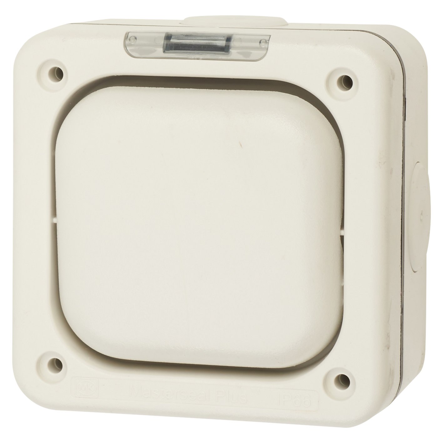 MK Masterseal Plus 10A IP66 1 Gang 2 Way Outdoor Switch - White)