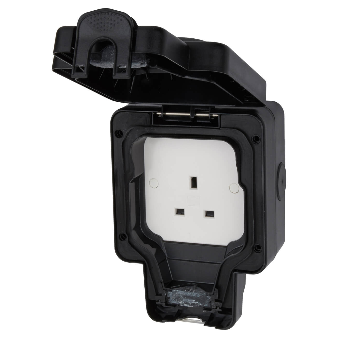 MK Masterseal Plus 13A IP66 1 Gang Weatherproof Unswitched Outdoor Socket - Black)