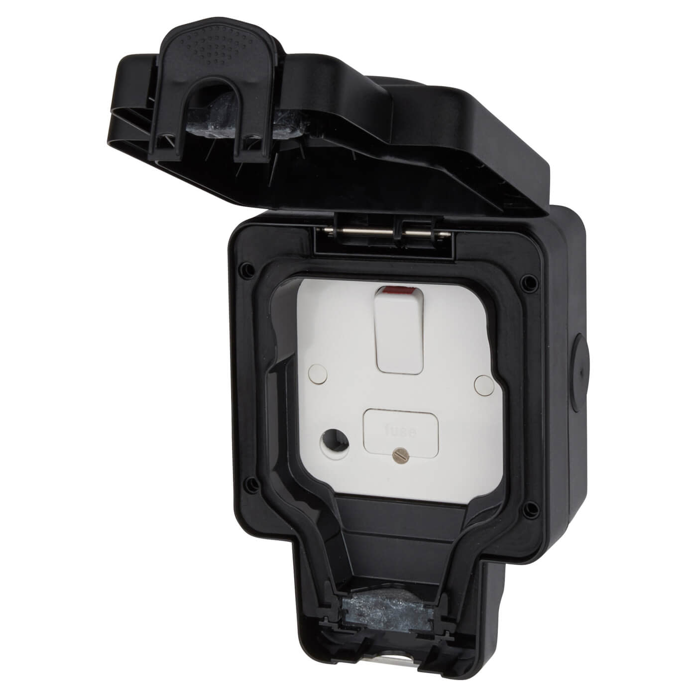 MK Masterseal Plus 13A IP66 1 Gang Outdoor Switched Fused Spur - Black)