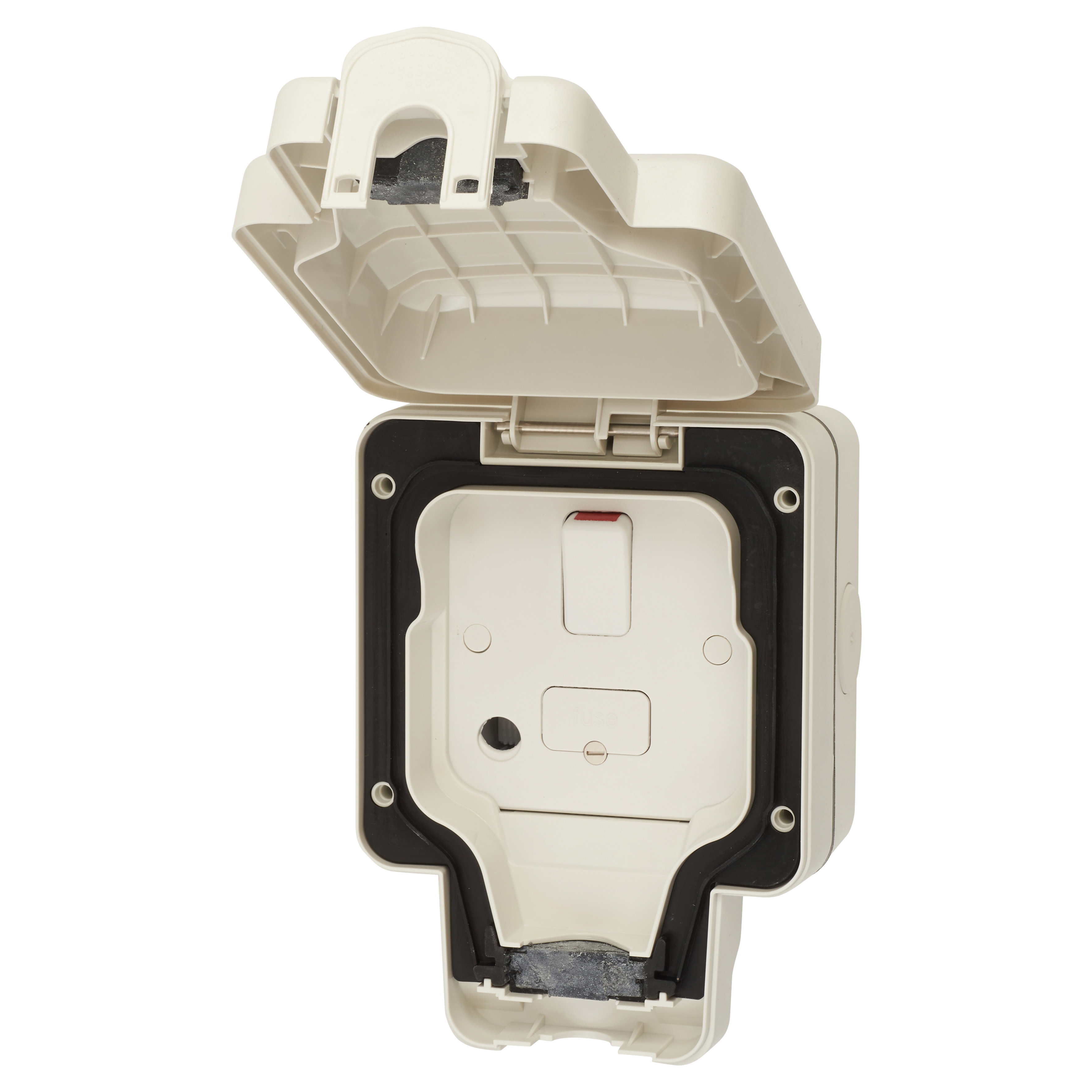 MK Masterseal Plus 13A IP66 1 Gang Outdoor Switched Fused Spur - White)