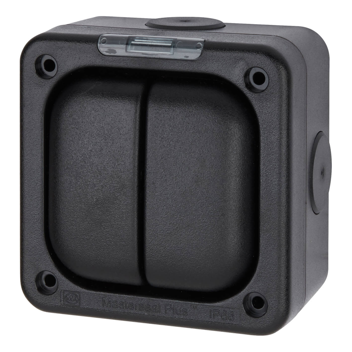 MK Masterseal Plus 10A IP66 2 Gang 1 Way Outdoor Switch - Black)