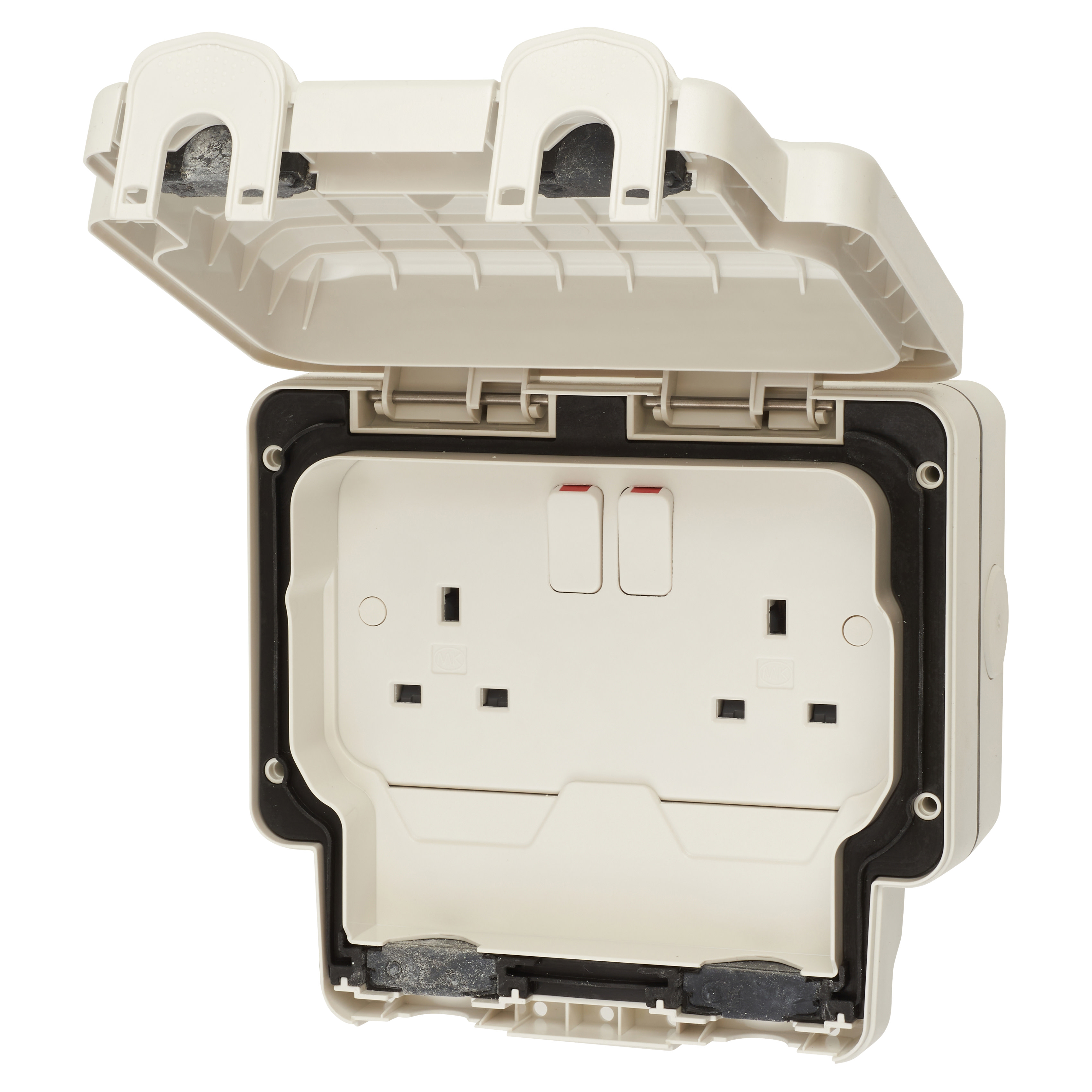 MK Masterseal Plus 13A IP66 2 Gang Weatherproof Switched Outdoor Socket - White)