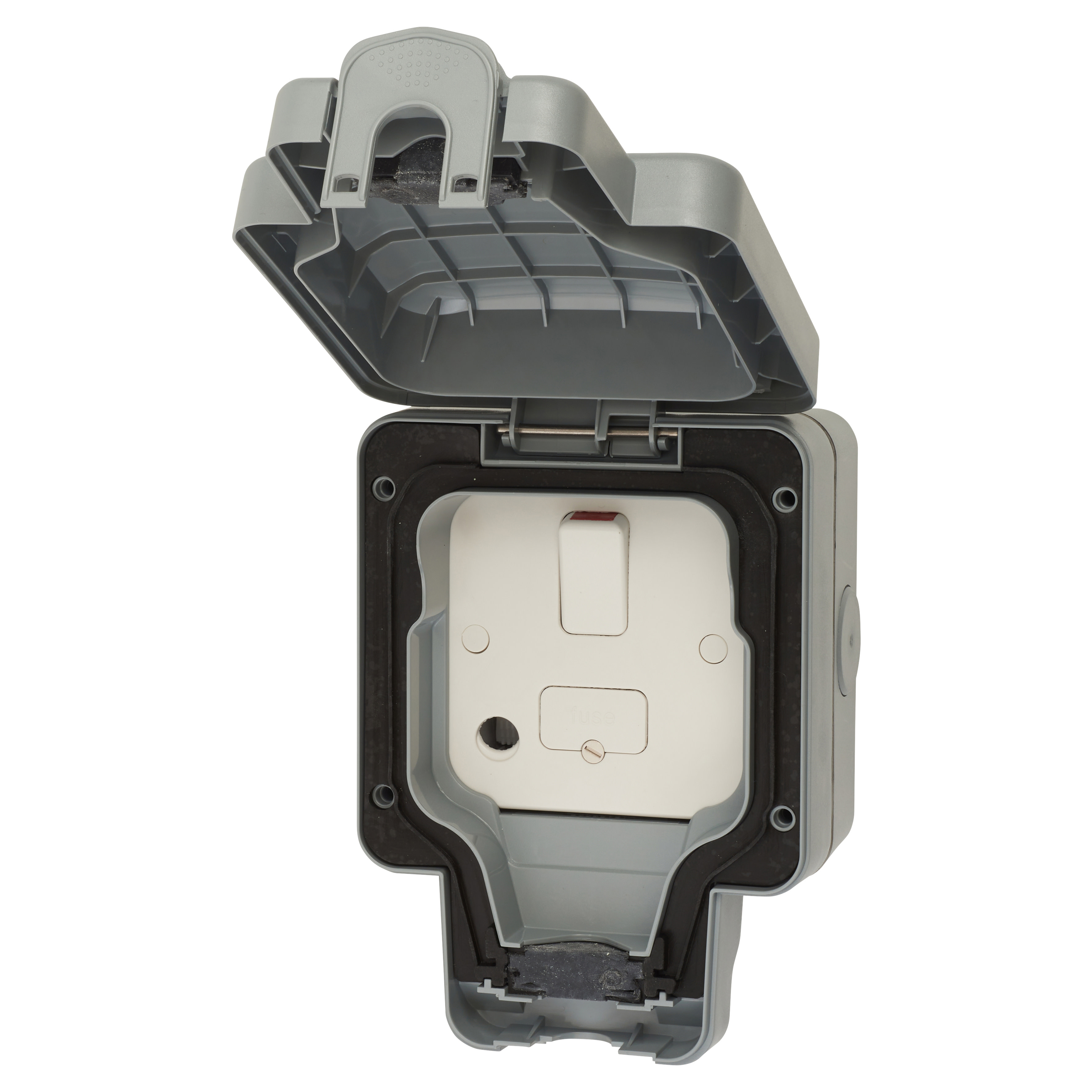 MK Masterseal Plus 13A IP66 1 Gang Outdoor Switched Fused Spur - Grey)