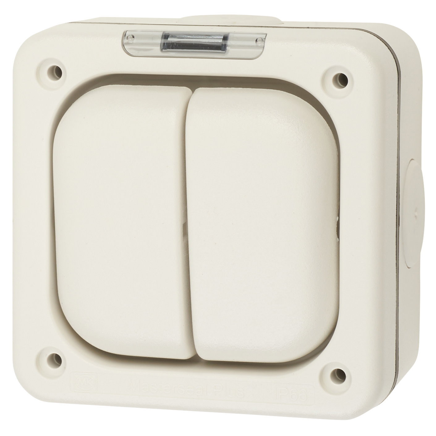 MK Masterseal Plus 10A IP66 2 Gang 1 Way Outdoor Switch - White)