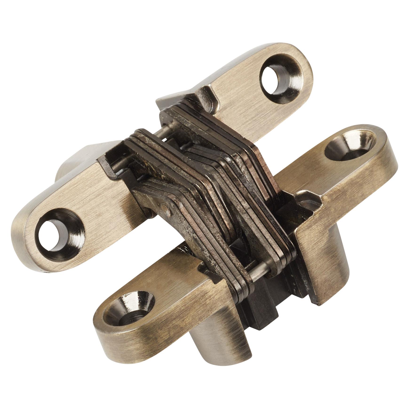 Tago Concealed Hinge - 60 x 13mm - Antique Brass - Pair)