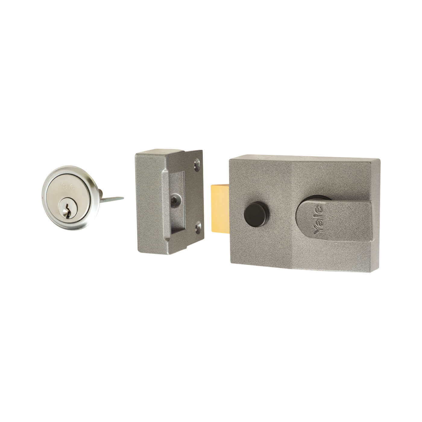 Yale® 89 Double Locking Nightlatch - 60mm Backset - Grey Case/Satin Chrome Cylinder)