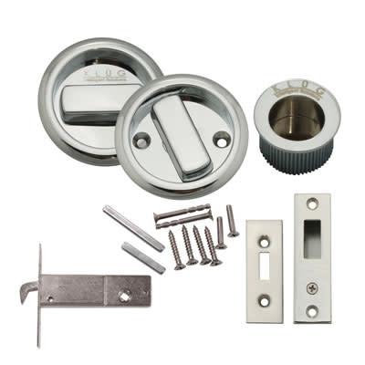 KLÜG Round Flush Handle Set with Latch - Polished Chrome)