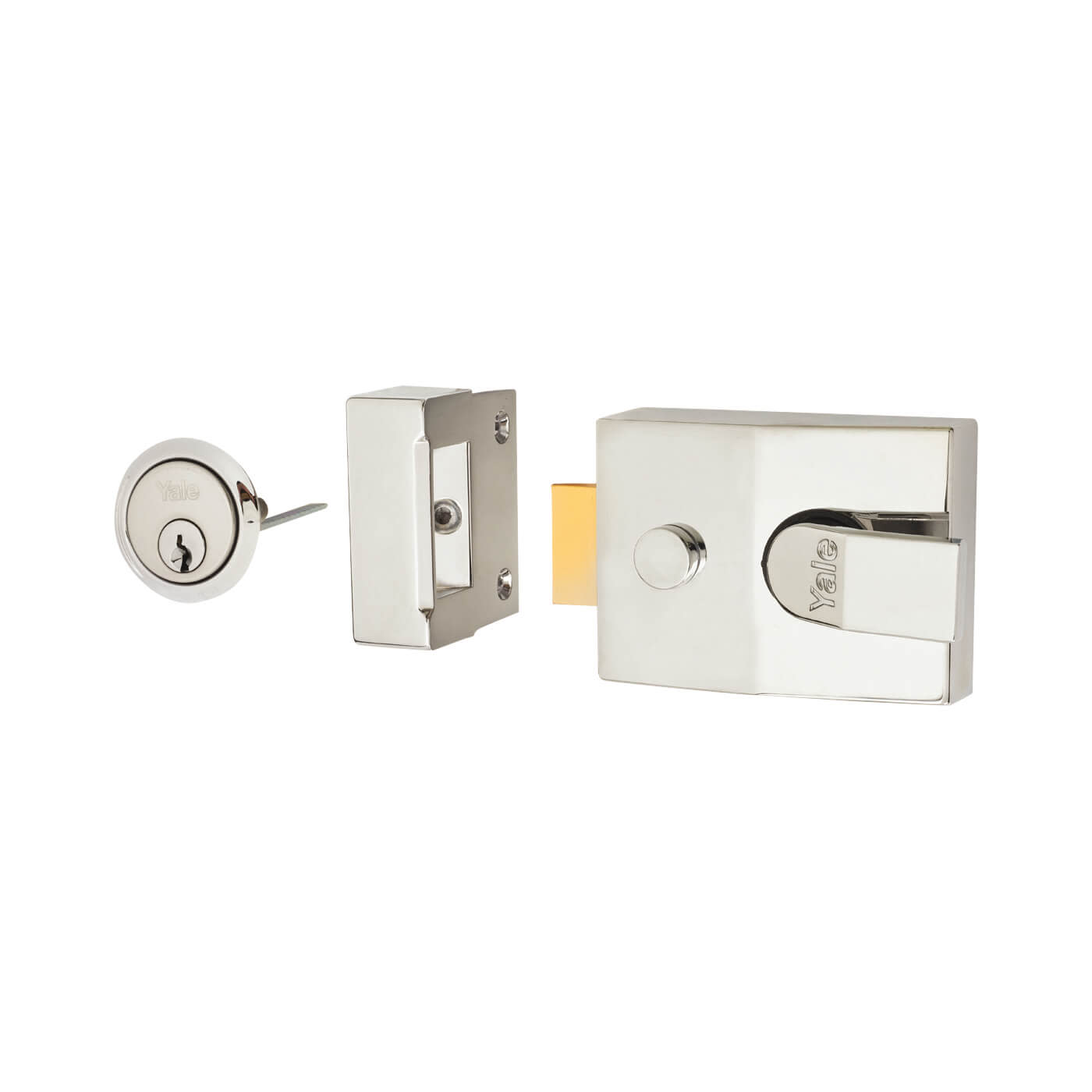 Yale® 89 Double Locking Nightlatch - 60mm Backset - Polished Chrome Case/Cylinder)