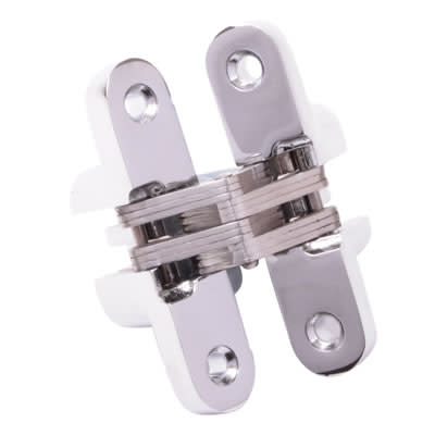 Tago Concealed Hinge - 70 x 16mm - Polished Chrome - Pair)