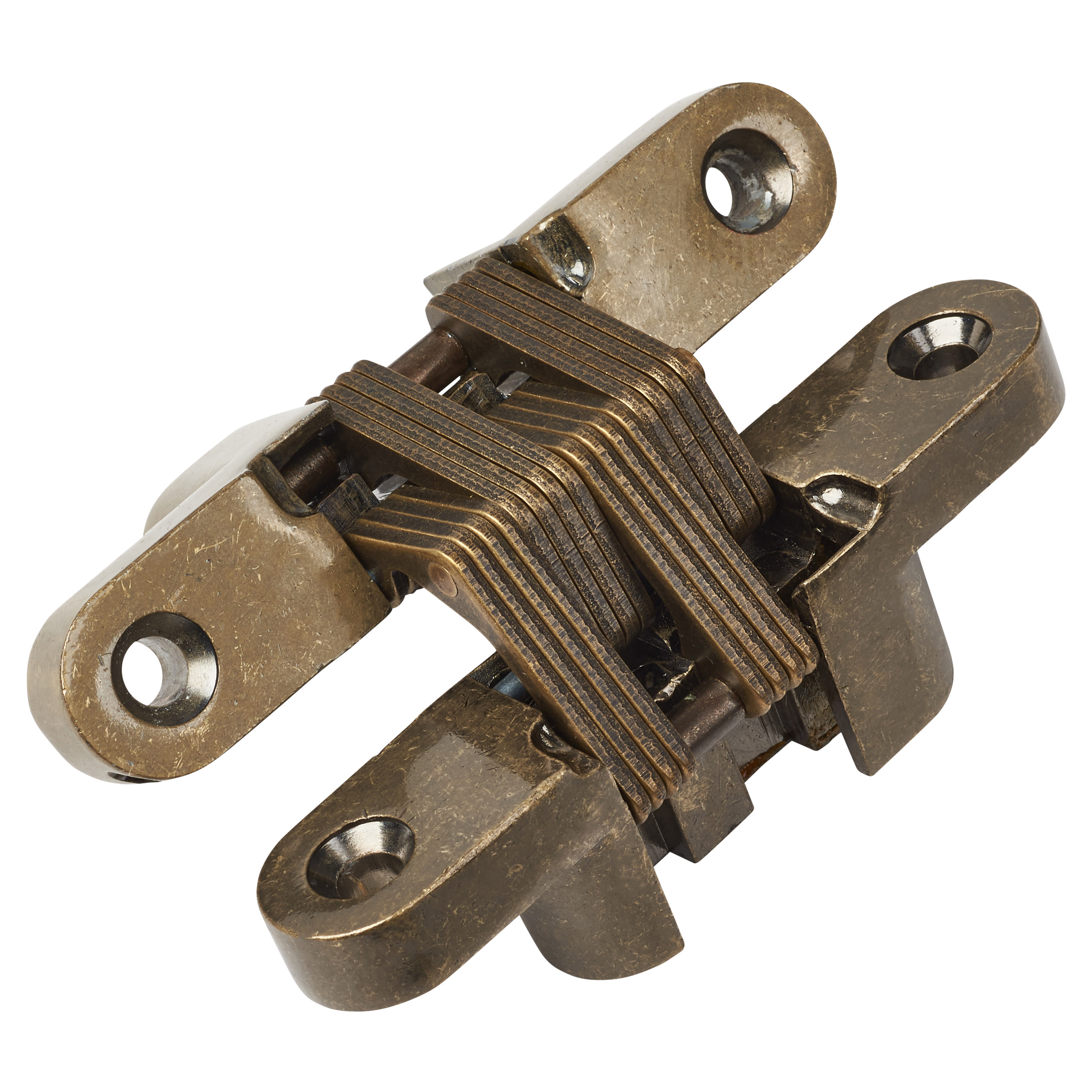 Tago Concealed Hinge - 95 x 19mm - Antique Brass - Pair)