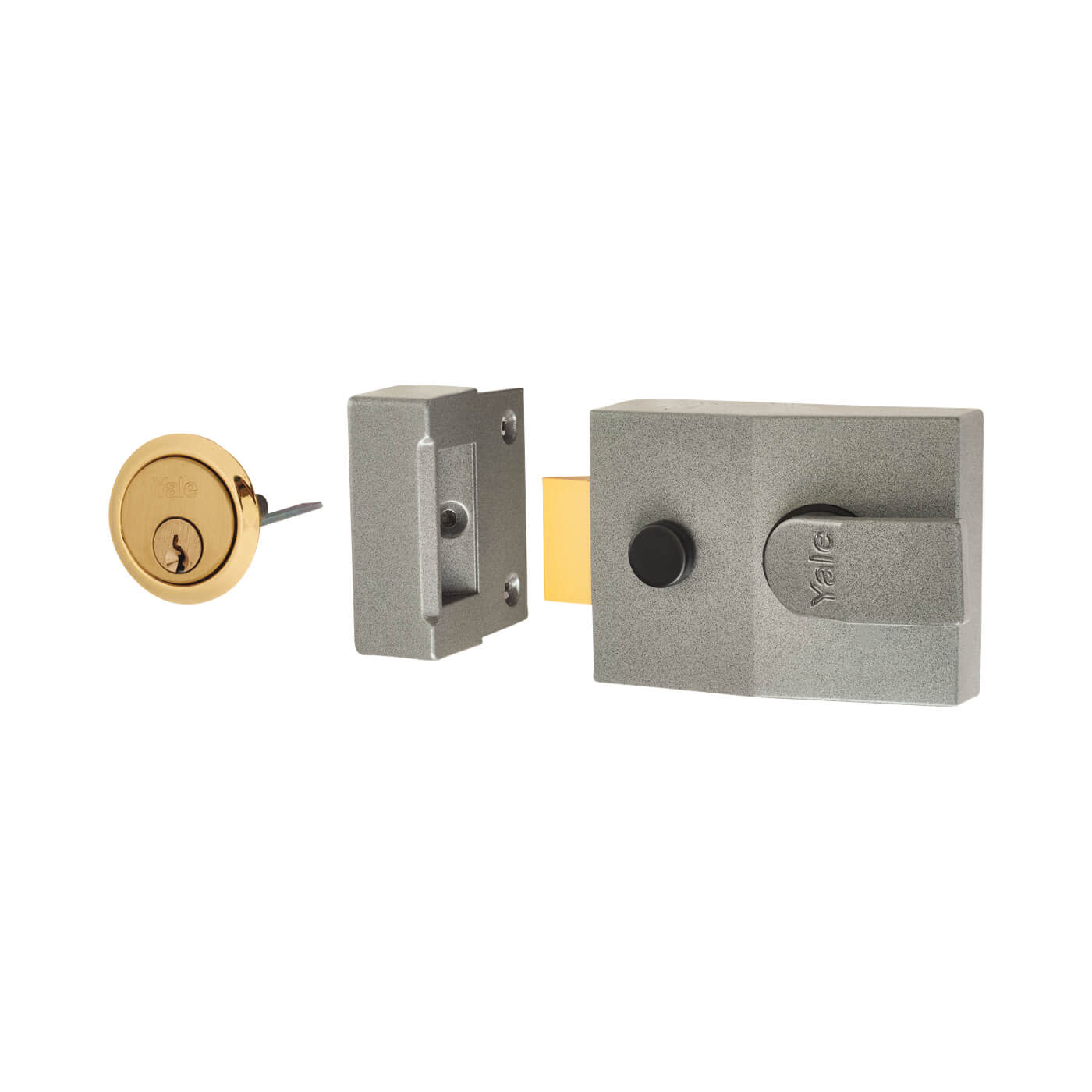 Yale® 89 Double Locking Nightlatch - 60mm Backset - Grey Case/Brass Cylinder)