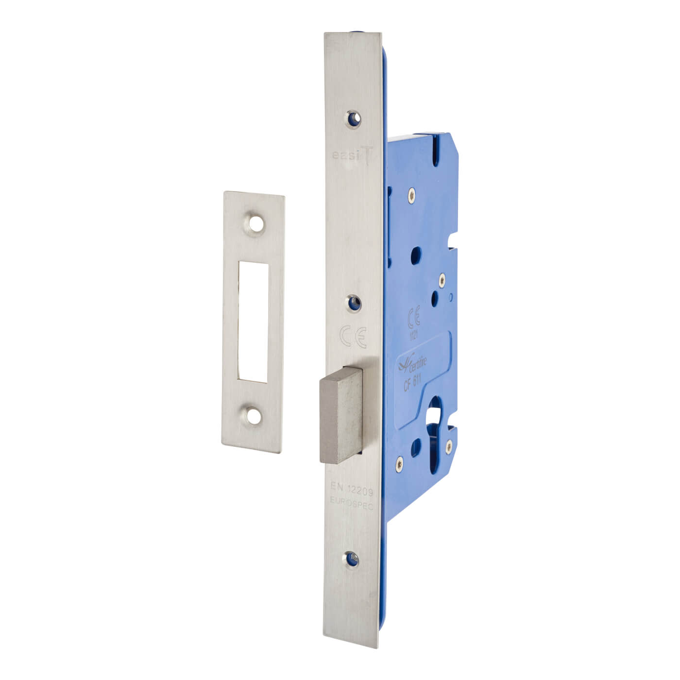 A-Spec Architectural DIN Euro Deadlock - 85mm Case - 60mm Backset - Satin Stainless)