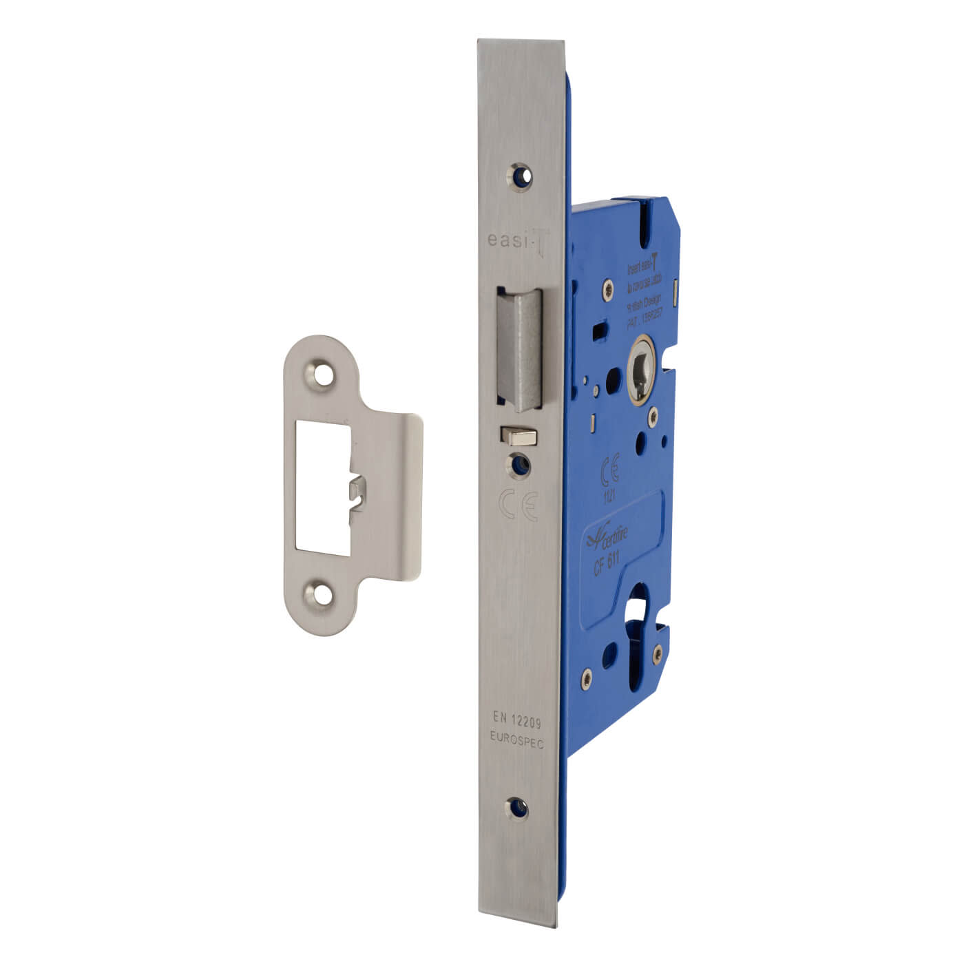 A-Spec Architectural DIN Euro Mortice Nightlatch - 85mm Case - 60mm Backset - Satin Stainless)