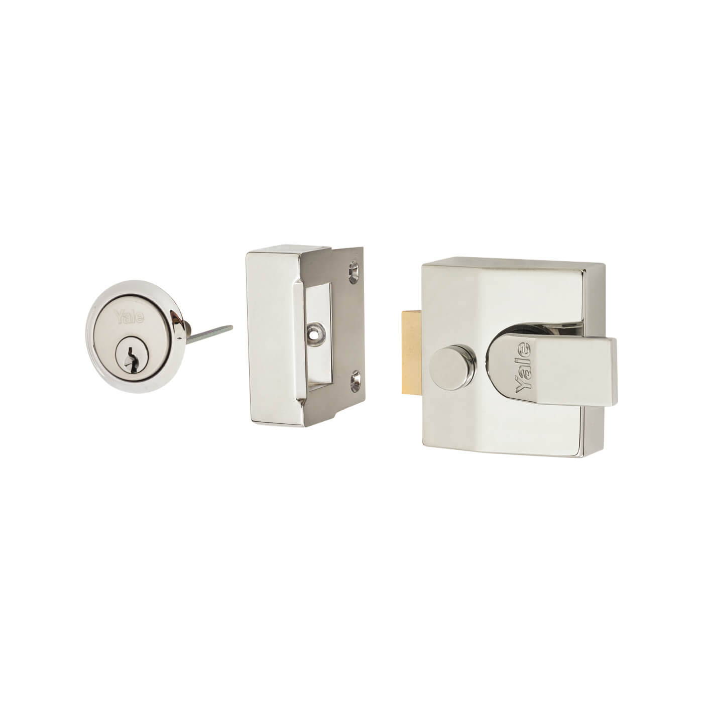 Yale® 85 Double Locking Nightlatch - 40mm Backset - Polished Chrome Case/Cylinder)