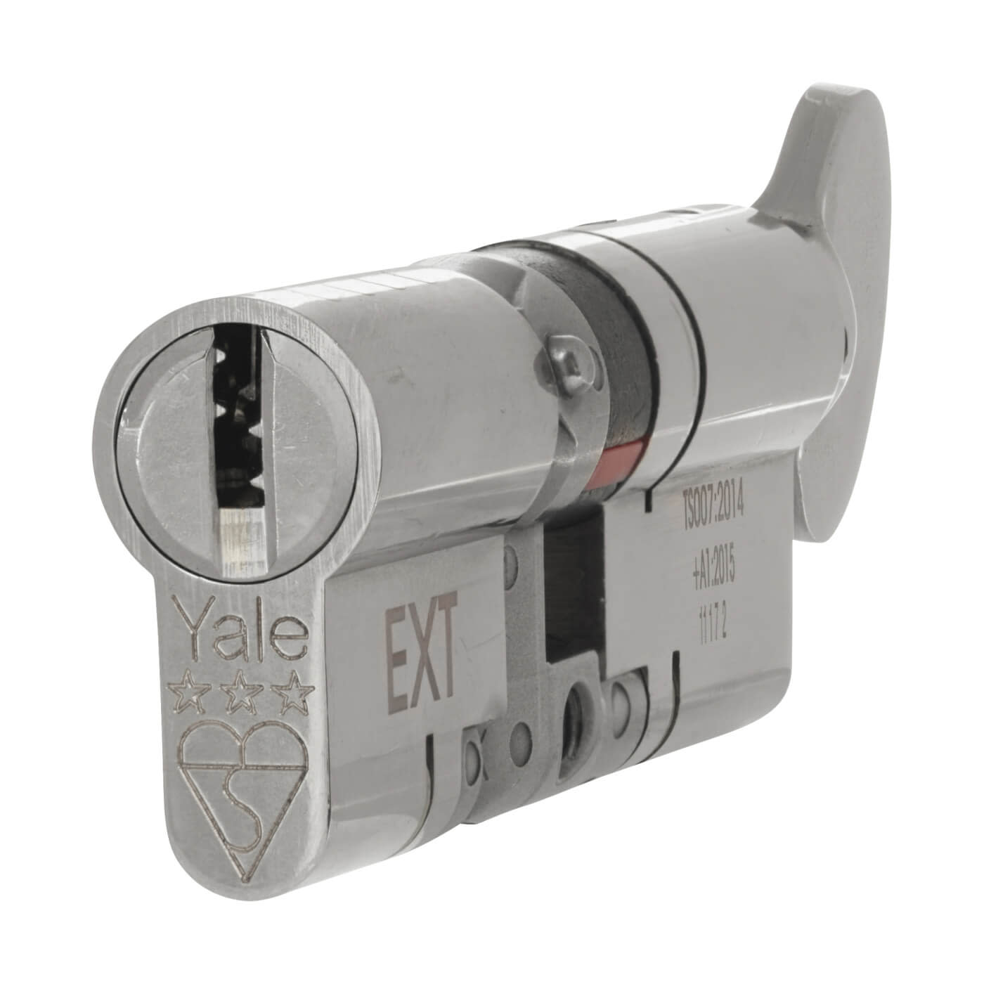Yale® 3 Star Anti-Snap Platinum Euro Thumbturn Cylinder - 80mm Length - 40[k]* + 40mm - Bright )
