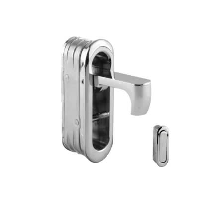 Door Edge Finger Pull - 58 x 18 x 18mm - Polished Chrome)