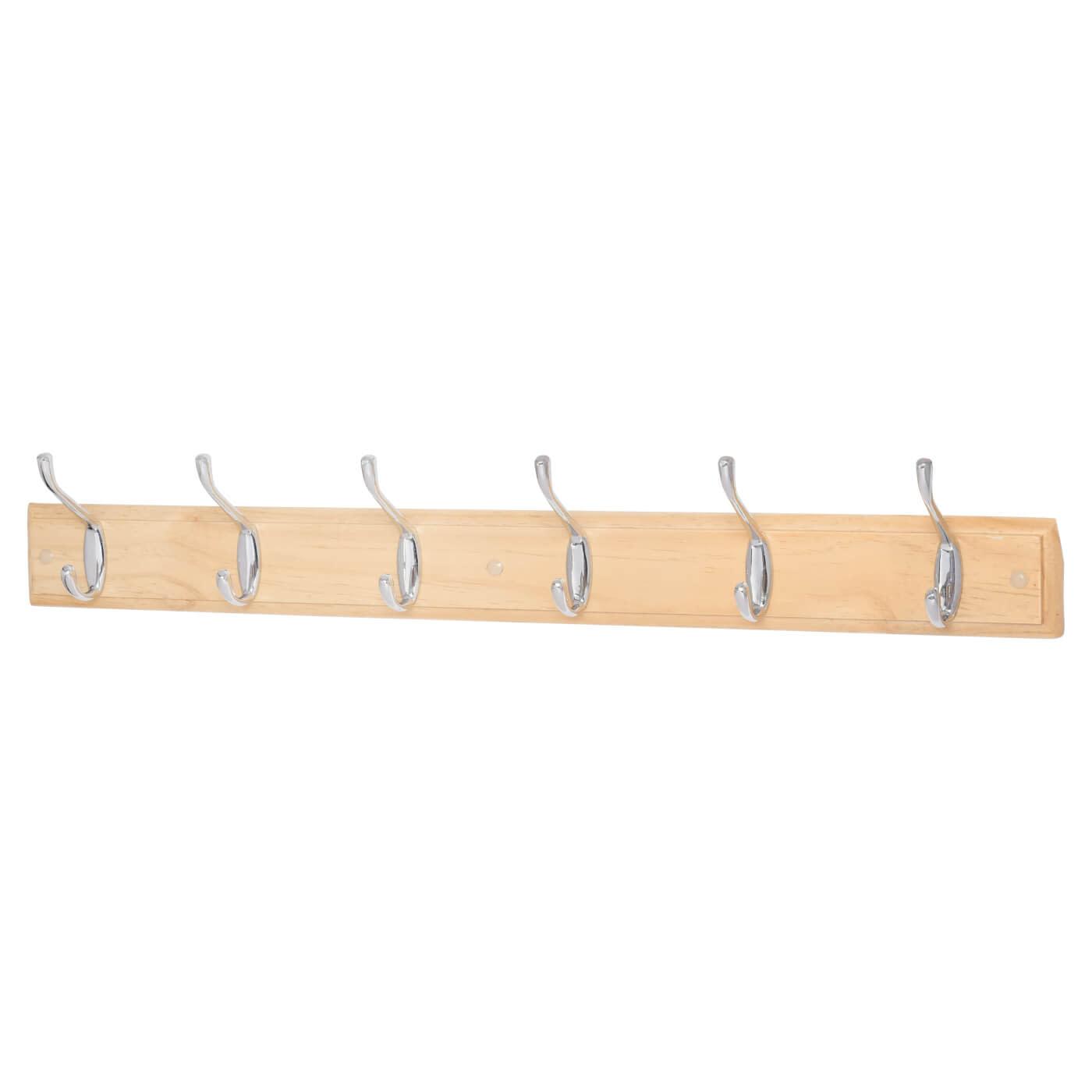 Hat and Coat Hook Rail - 6 Hook - Pine Board with Polished Chrome Hooks)